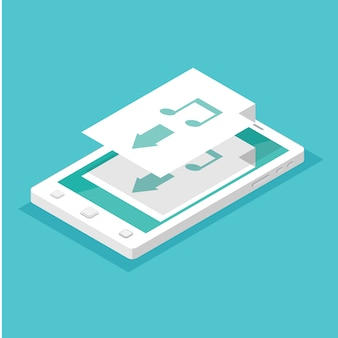 App-concept downloaden. isometrische smartphone.