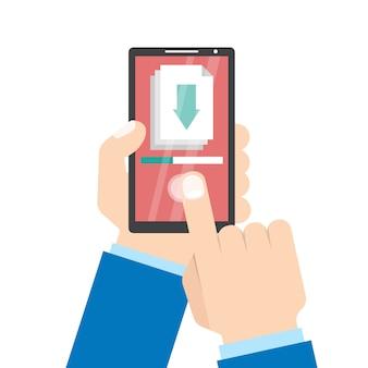 App-concept downloaden. smartphone in de hand.