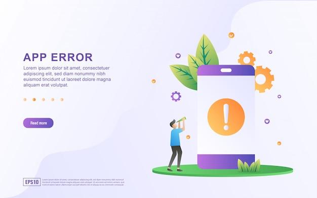 App fout plat ontwerpconcept. mensen controleren op toepassingen die fouten bevatten. verzoek om de app bij te werken naar de nieuwste versie.