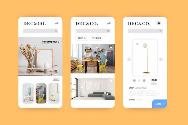 App-interface voor meubelwinkels