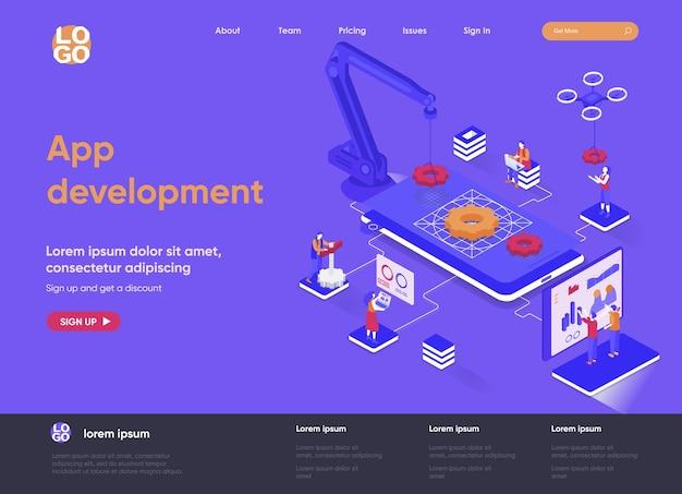 App-ontwikkeling 3d isometrische bestemmingspagina website illustratie met personagekarakters