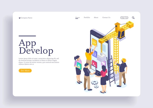 App-ontwikkeling en startup-concept lanceer een nieuw product op een markt bestemmingspagina-concept