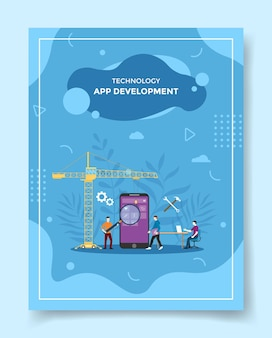 App-ontwikkeling mensen programmeur bouwen mobiele applicatie op smartphone