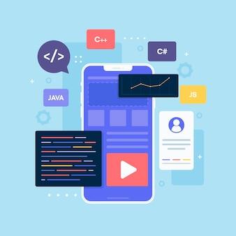 App-ontwikkeling op smartphone geïllustreerd