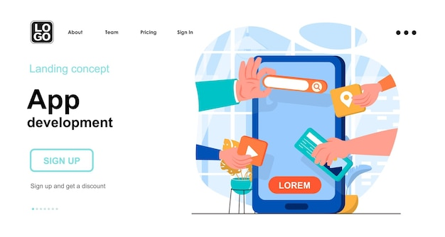 App-ontwikkeling plat ontwerpconcept