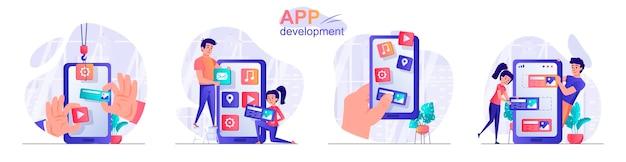 App ontwikkeling platte ontwerp concept illustratie van personen personages instellen