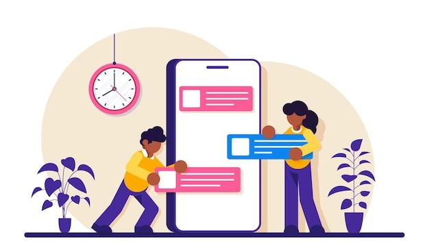 App-ontwikkeling voor website en mobiele website-illustratie