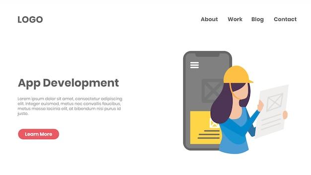 App-ontwikkelingsconcept bestemmingspagina
