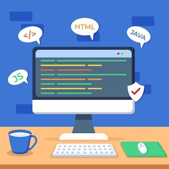 App ontwikkelingsconcept met bureau en desktop
