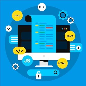 App-ontwikkelingsconcept met desktop- en codeertalen