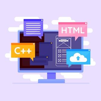 App ontwikkelingsconcept met desktop
