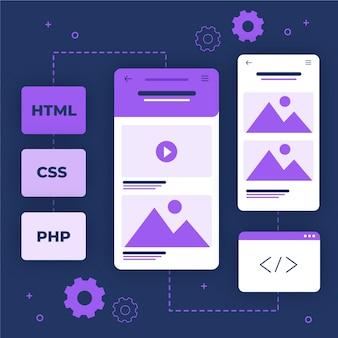 App-ontwikkelingsconcept met geïllustreerde programmeertalen