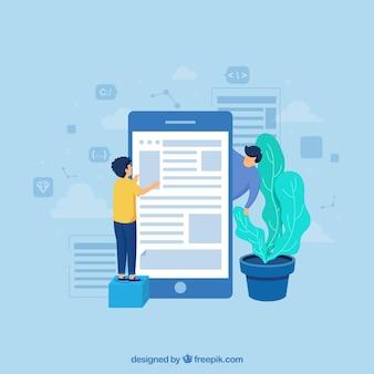 App ontwikkelingsconcept met platte ontwerp