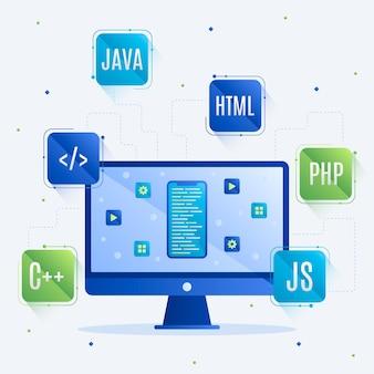 App-ontwikkelingsconcept met programmeertalen en desktop