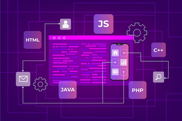 App-ontwikkelingsconcept met telefoon- en codeertalen