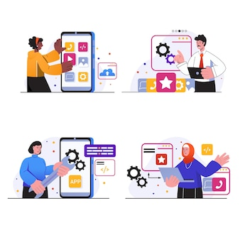 App-ontwikkelingsconceptscènes stellen mensen in om mockup van mobiele applicatie-interface te maken