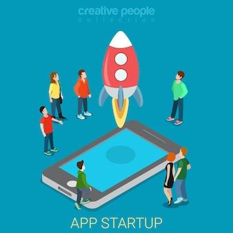 App opstarten mobiel lanceringsproces plat isometrisch