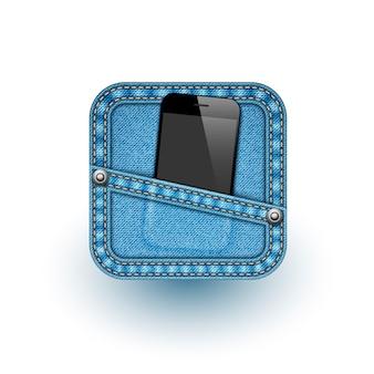 App-pictogram met mobiele telefoon. vector illustratie