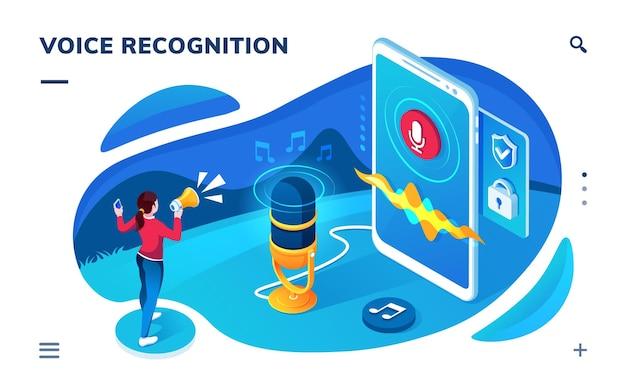 App-scherm voor spraakherkenning. isometrische pagina voor geluidsopname, vertaling, audiobericht. ai-spraakherkenningstechnologie. microfoon, microfoon voor gesprek met cyberassistent