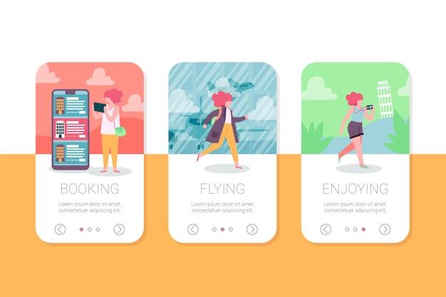 App-schermen voor reizen onboarding