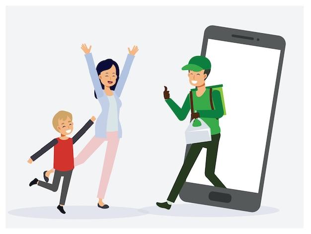 App-serviceconcept voor voedselbezorging, volwassen vrouw en jonge kleine jongen zijn blij omdat de bezorging van eten thuis is bereikt, de man van de voedselbezorging stuurt eten naar de klant.