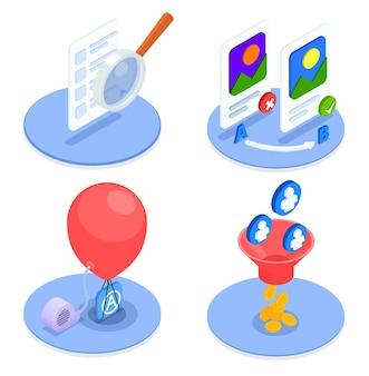 App store-optimalisatie 2x2 ontwerpsamenstelling met 3d-kleurrijke symbolen geïsoleerd
