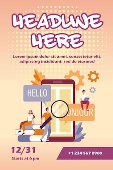 App vertalen op flyer-sjabloon voor mobiele telefoons