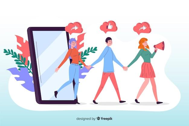 App voor het doorverwijzen van een geïllustreerde vriend