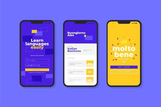 App voor het leren van een nieuwe taalinterface