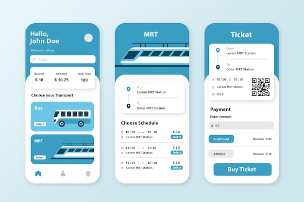 App voor openbaar vervoer-sjabloon