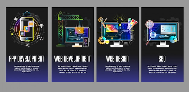App, webontwikkeling, ontwerp, seo vector sjablonen