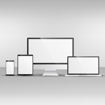 Apparaat mockup waaronder computer laptop smartphone en tablet
