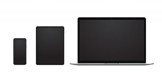 Apparaatset, smartphone, tablet en laptop met lege schermen in moderne frameloze stijl.