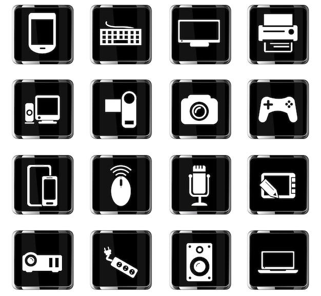 Apparaatvectorpictogrammen voor gebruikersinterfaceontwerp