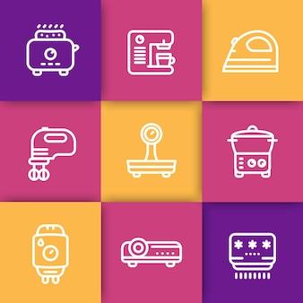 Apparaten, consumentenelektronica lijn iconen set, broodrooster, koffiezetapparaat, blender, strijkijzer, schalen, stoomboot, thuisboiler, projector, airconditioner, vectorillustratie
