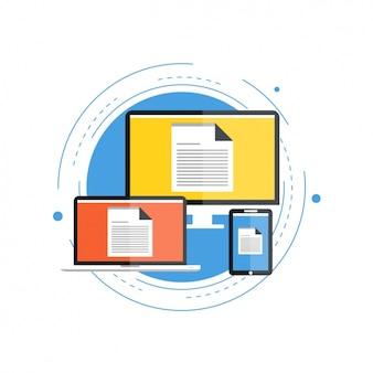 Apparaten met documenten op de schermen