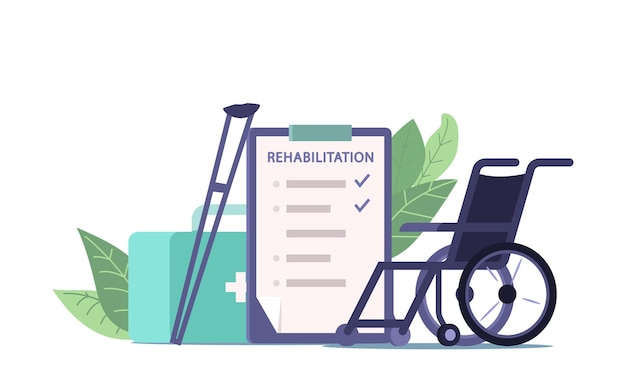 Apparatuur en recept voor fysiotherapie en medische revalidatie, rolstoel, krukken