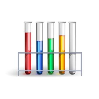 Apparatuur voor chemisch laboratorium. transparante glasreageerbuizen met kleurrijke vloeistoffenillustratie.