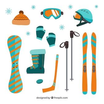 Apparatuur voor de wintersport in plat design