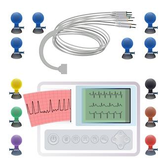 Apparatuur voor het maken van een elektrocardiogram, draadklemmen en bevestigingsmiddelen, ecg- of ekg-elektrocardiogram