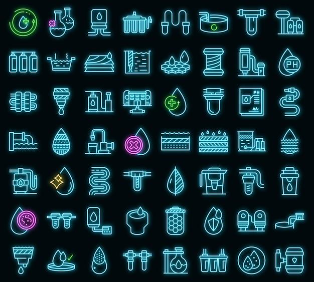 Apparatuur voor waterzuivering pictogrammen instellen. overzicht set van apparatuur voor waterzuivering vector iconen neon kleur op zwart