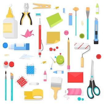 Apparatuur voor werkplaats en handgemaakte set. verzameling van elementen voor creatieve hobby. naald en schaar, spoel en draad. illustratie in cartoon-stijl