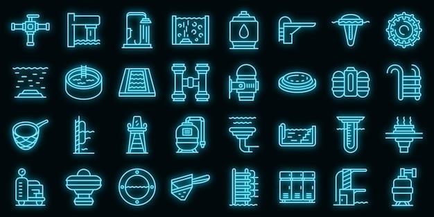 Apparatuur voor zwembad pictogrammen instellen. overzicht set apparatuur voor zwembad vector iconen neon kleur op zwart