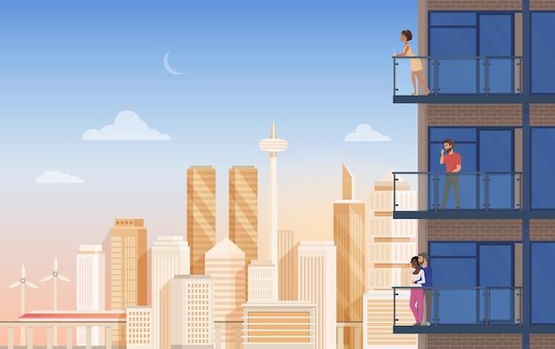Appartement balkon met uitzicht op de stad met mensen koppels ontspannen