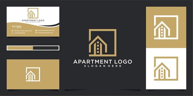 Appartement eenvoudig logo-ontwerp en visitekaartje