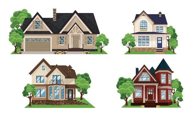 Appartement huis set. gebouw, huisje, villa. drie klassieke landhuizen in de buitenwijken