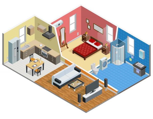 Appartement isometrisch ontwerp