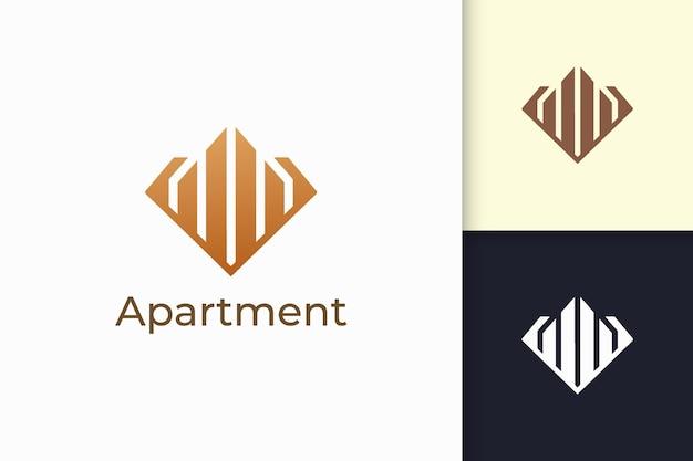 Appartement- of eigendomslogo in ruitvorm voor onroerend goed