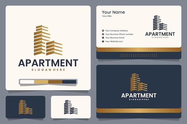 Appartement, onroerend goed, logo-ontwerp en visitekaartje