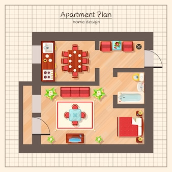Appartement plan illustratie
